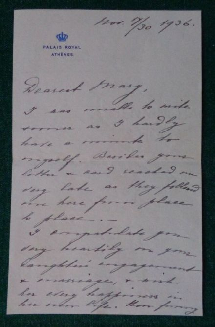 Antique Signed Letter Grand Duchess Helen Russia Greece 1936 Countess Ignatiev